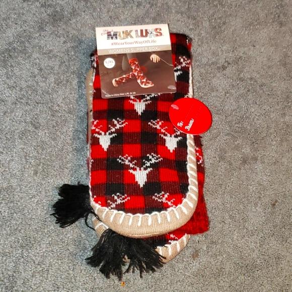 MUK LUKS Womans Deer Slipper Socks